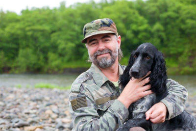 military veteran with dog